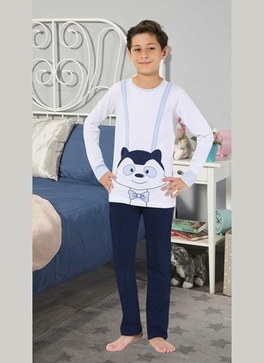 Elitol Erkek Çocuk Pamuklu Likralı Pijama Takım Beyaz
